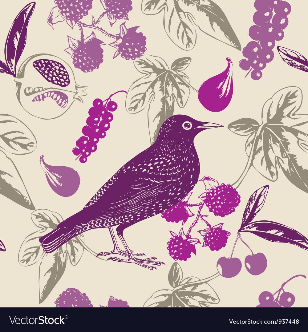 Vintage bird berry pattern vector | Price: 1 Credit (USD $1)
