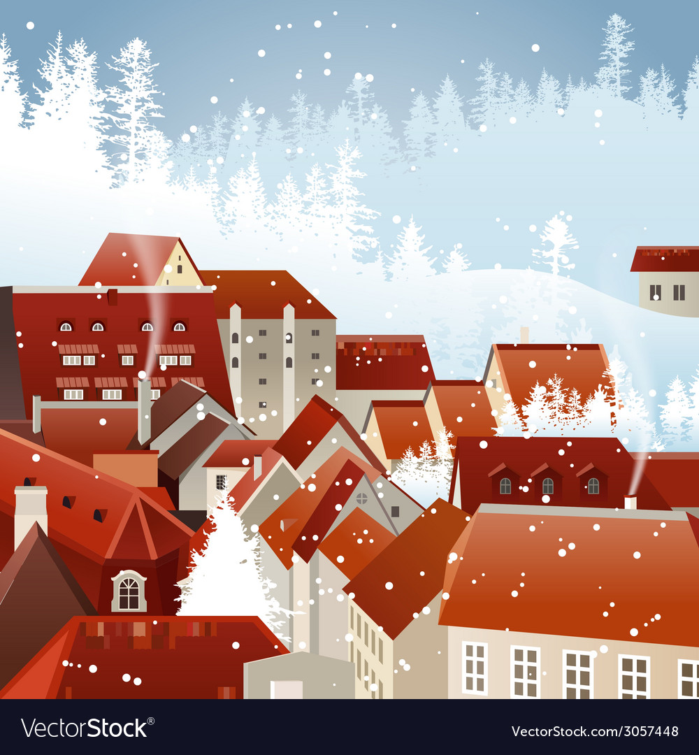 Winter city landscape vector | Price: 1 Credit (USD $1)