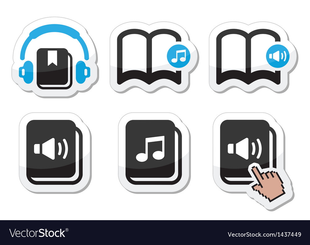 Audiobook icons set vector | Price: 1 Credit (USD $1)