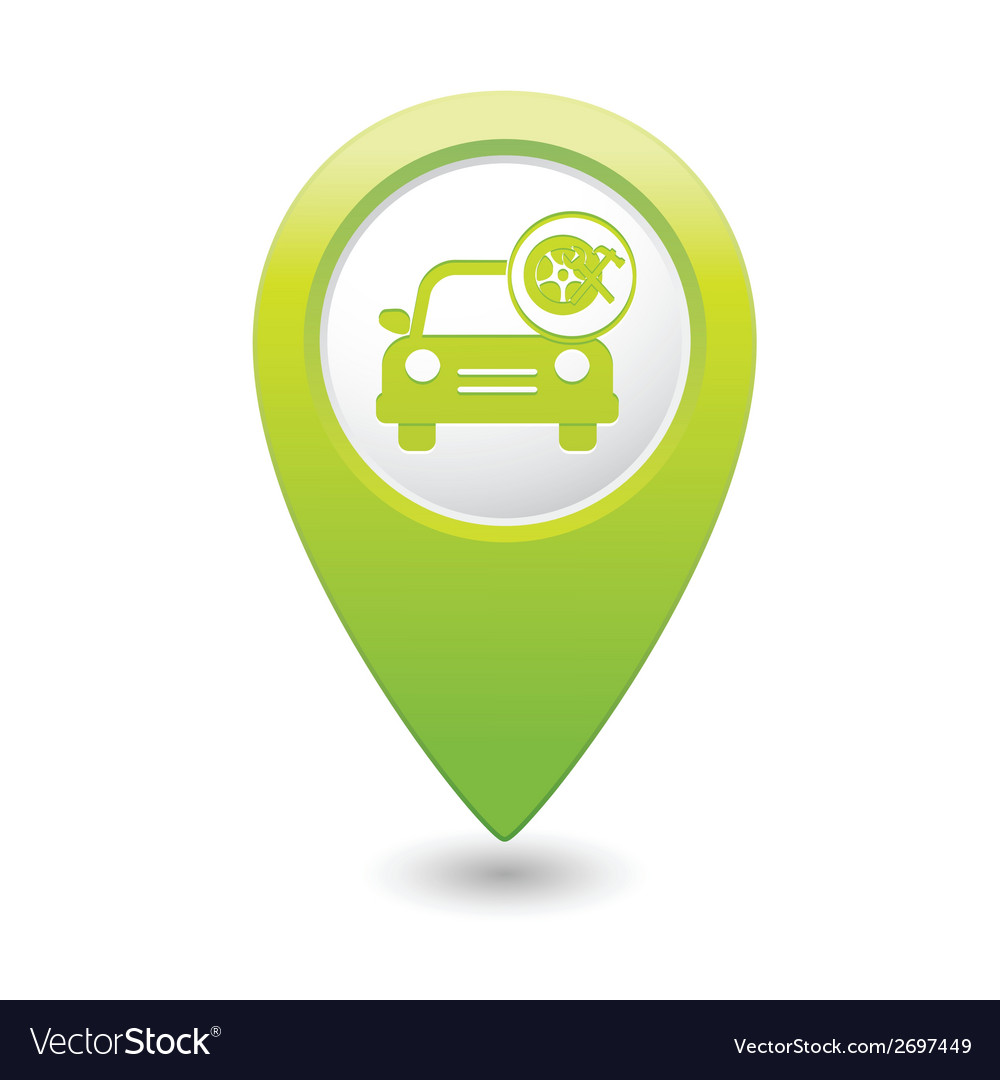 Car with wheel and tools icon map pointer green vector | Price: 1 Credit (USD $1)