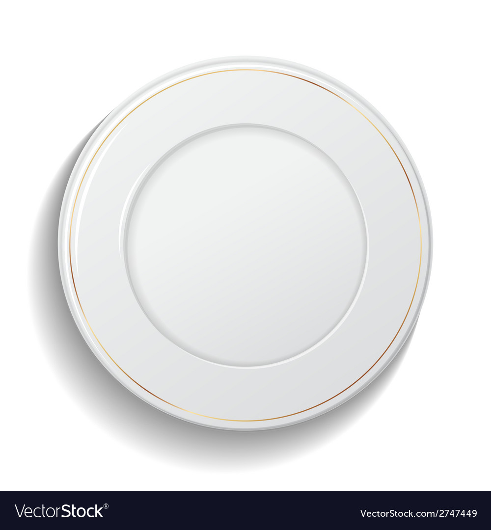 Classic empty white plate isolated on white vector | Price: 1 Credit (USD $1)