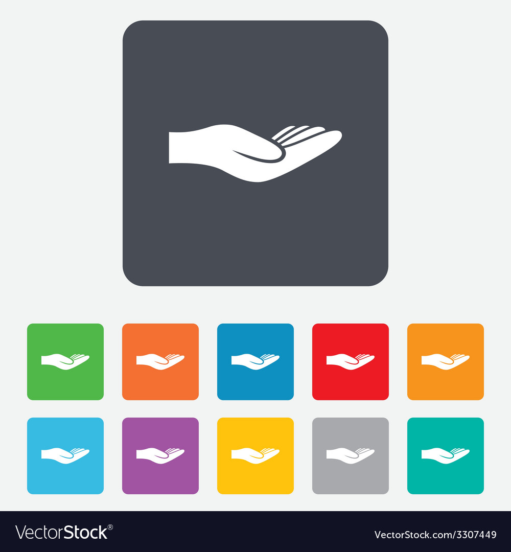 Donation hand sign icon charity or endowment vector | Price: 1 Credit (USD $1)