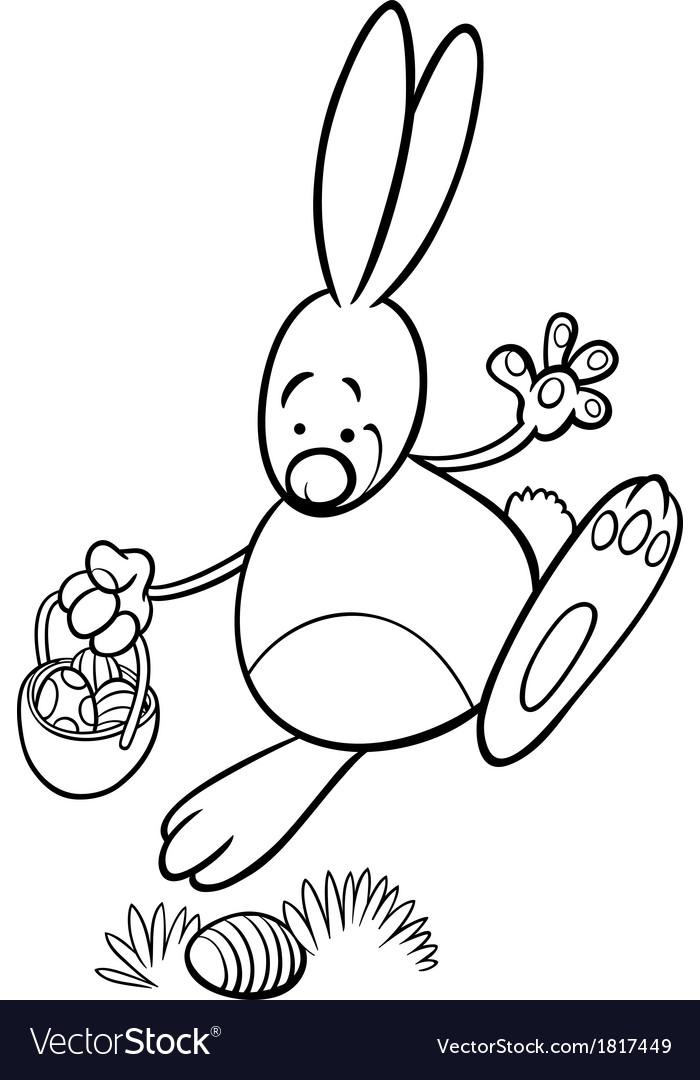 Easter bunny cartoon coloring page vector | Price: 1 Credit (USD $1)