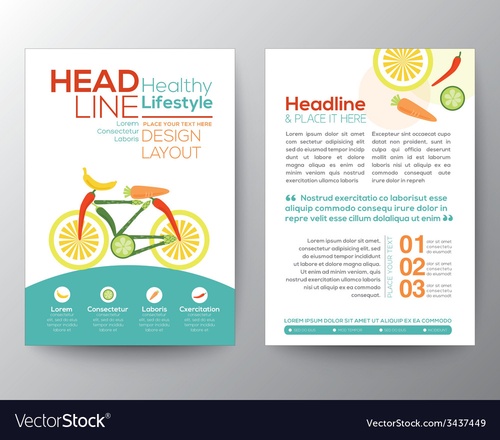 Healthy lifestyle concept brochure flyer design vector | Price: 1 Credit (USD $1)