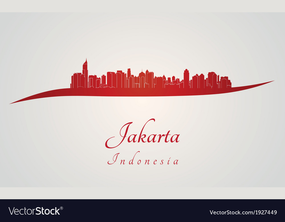 Jakarta skyline in red vector | Price: 1 Credit (USD $1)