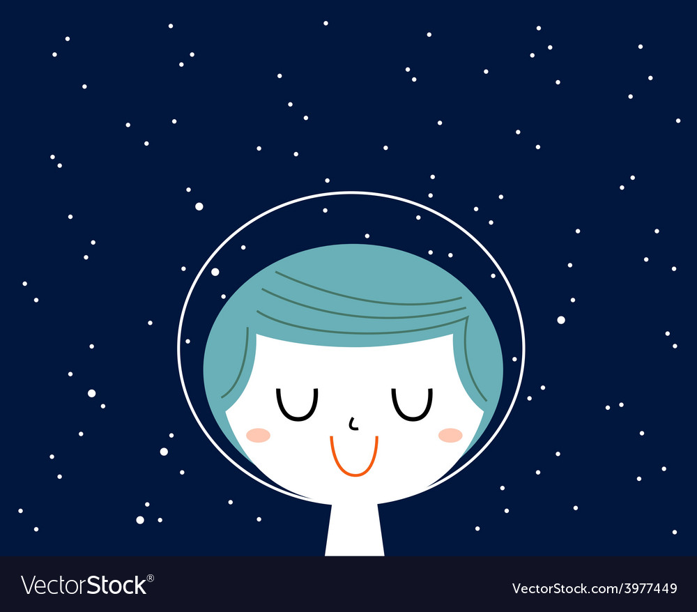 Little astronaut boy with stars background behind vector | Price: 1 Credit (USD $1)