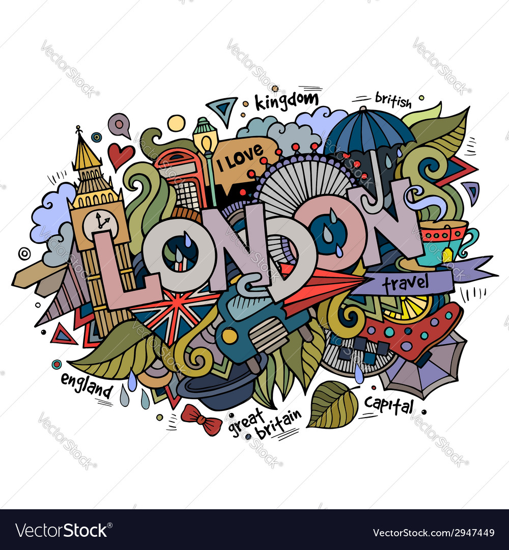 London hand lettering and doodles elements vector | Price: 1 Credit (USD $1)