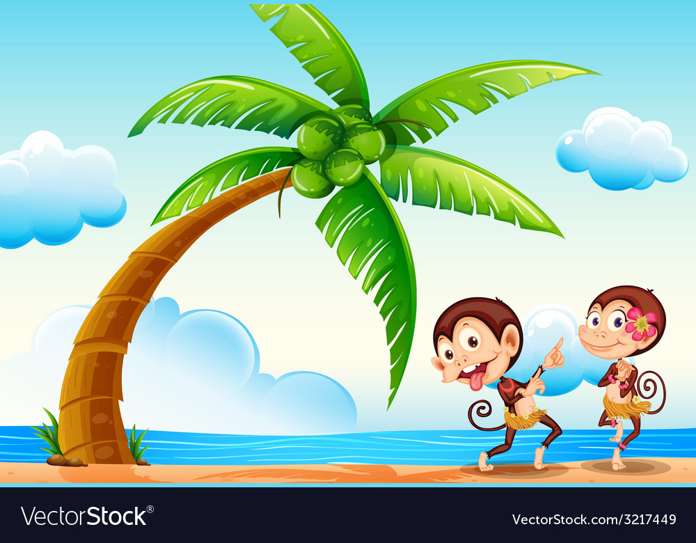Monkeys and beach vector | Price: 1 Credit (USD $1)