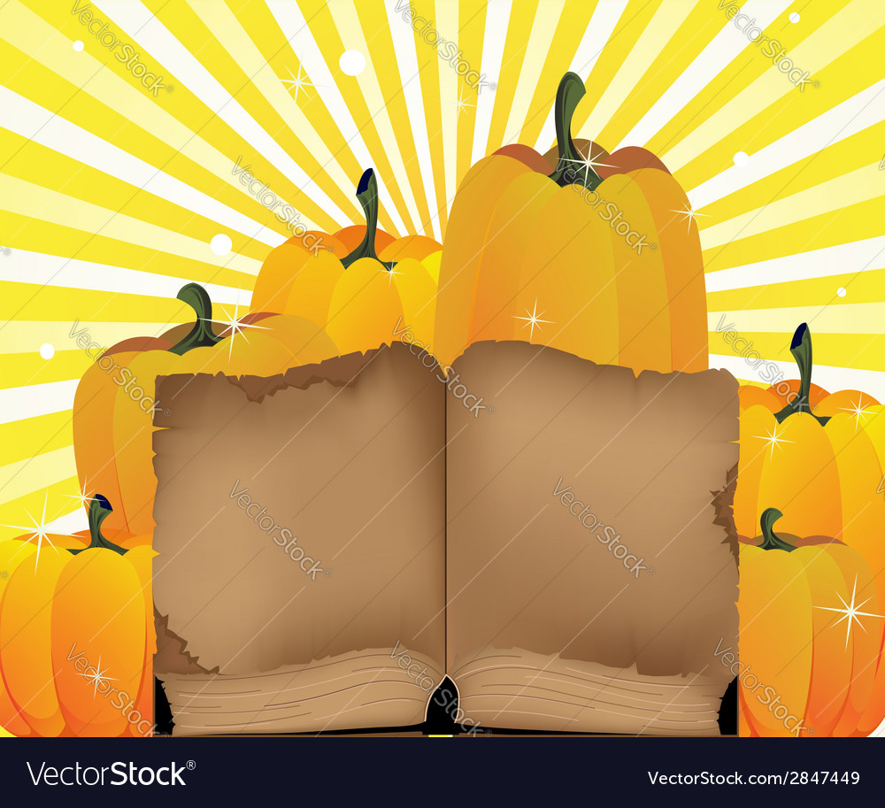 Ripe pumpkins and the old book vector | Price: 1 Credit (USD $1)