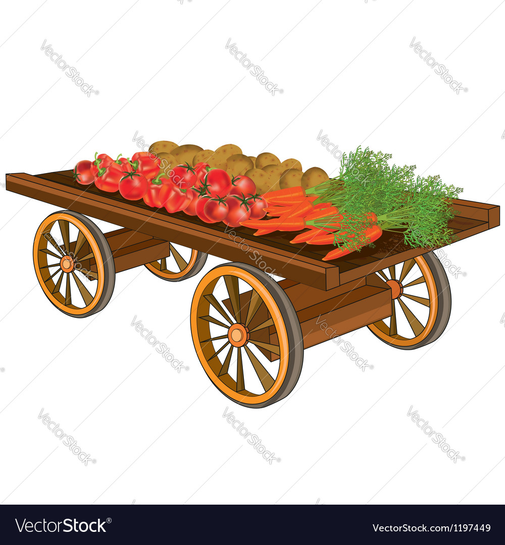 Wooden cart with vegetables vector | Price: 3 Credit (USD $3)