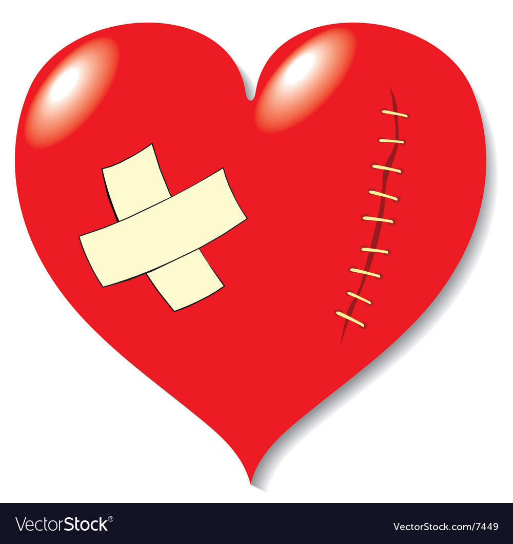 Wound on heart from love vector | Price: 1 Credit (USD $1)