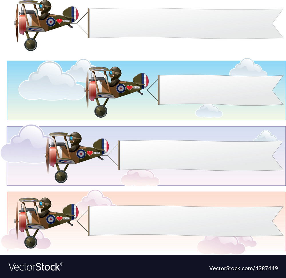 Ww1 aeroplane toys vickers banner vector | Price: 3 Credit (USD $3)