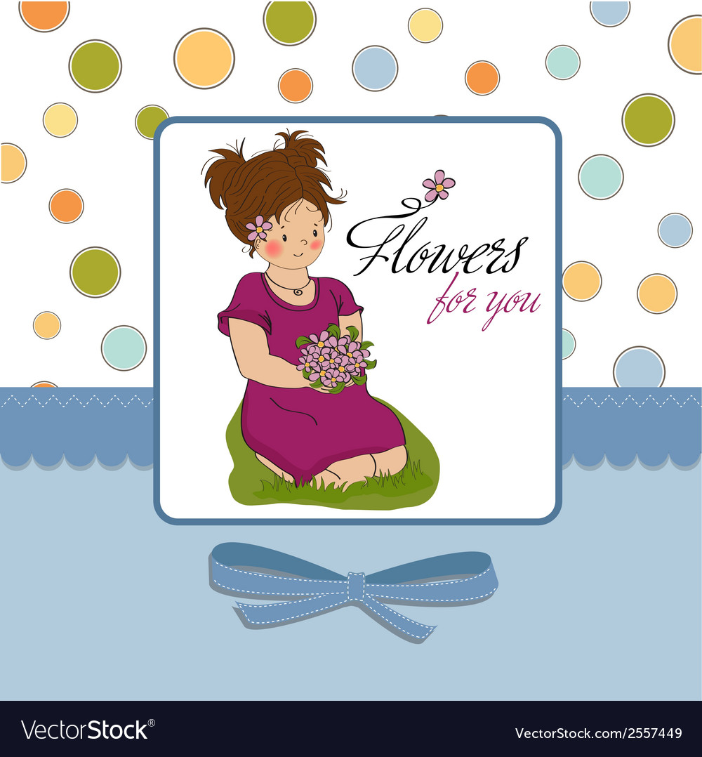 Young girl with a bouquet of flowers vector   Price: 1 Credit (USD $1)