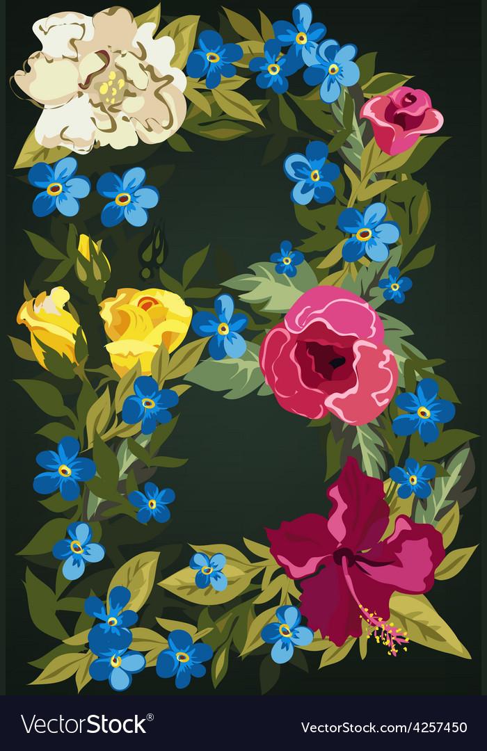 B letter flower capital alphabet colorful font vector | Price: 1 Credit (USD $1)