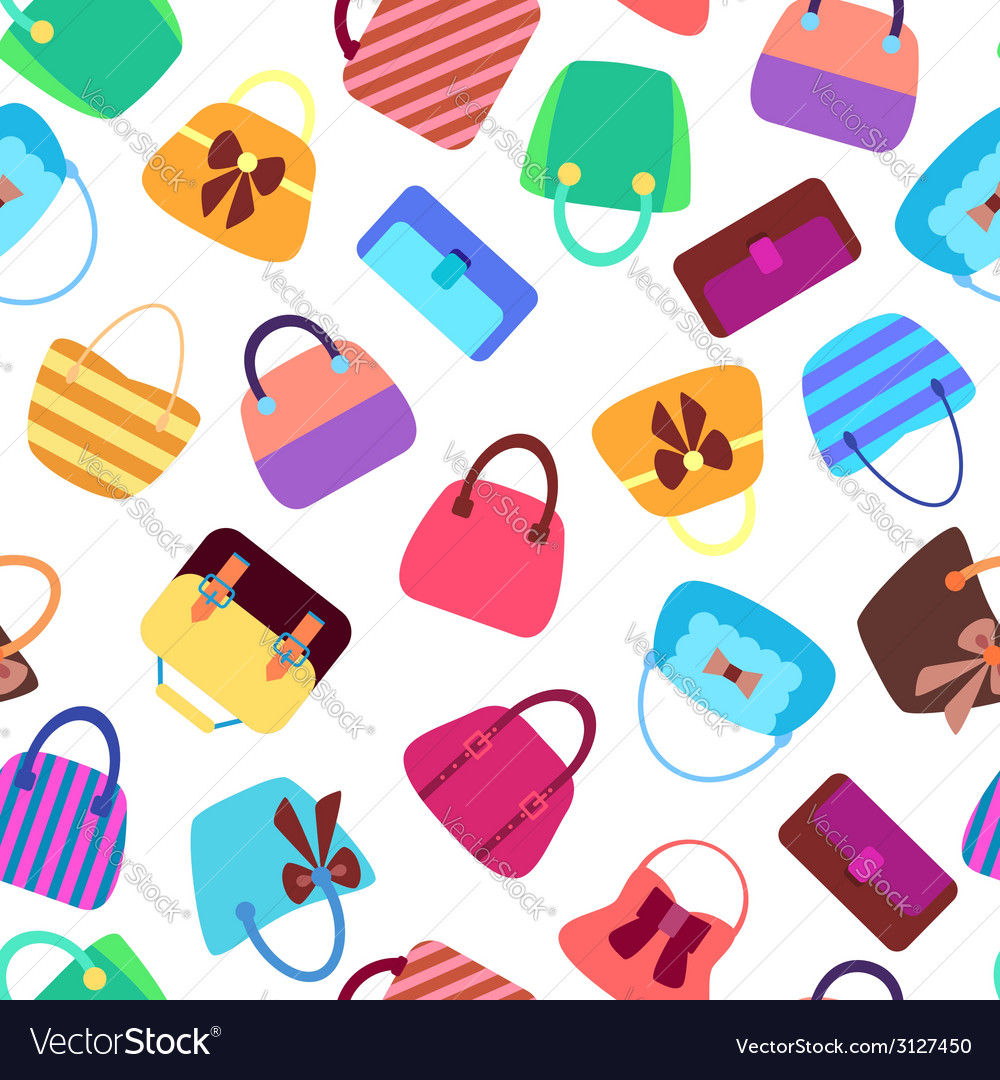 Collection of retro woman bags seamless background vector | Price: 1 Credit (USD $1)