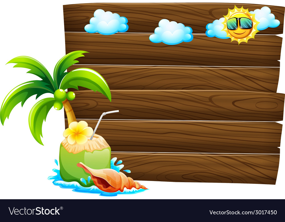Empty wooden signboards with beach templates vector | Price: 1 Credit (USD $1)