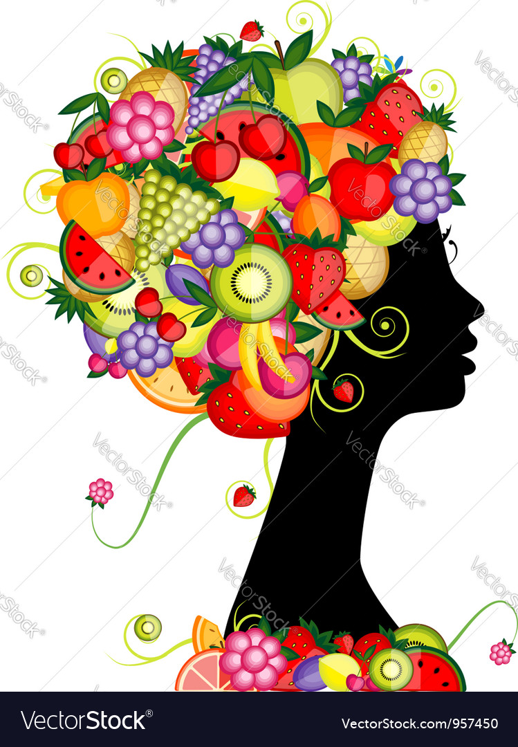 Female profile silhouette hairstyle with fruits vector | Price: 1 Credit (USD $1)