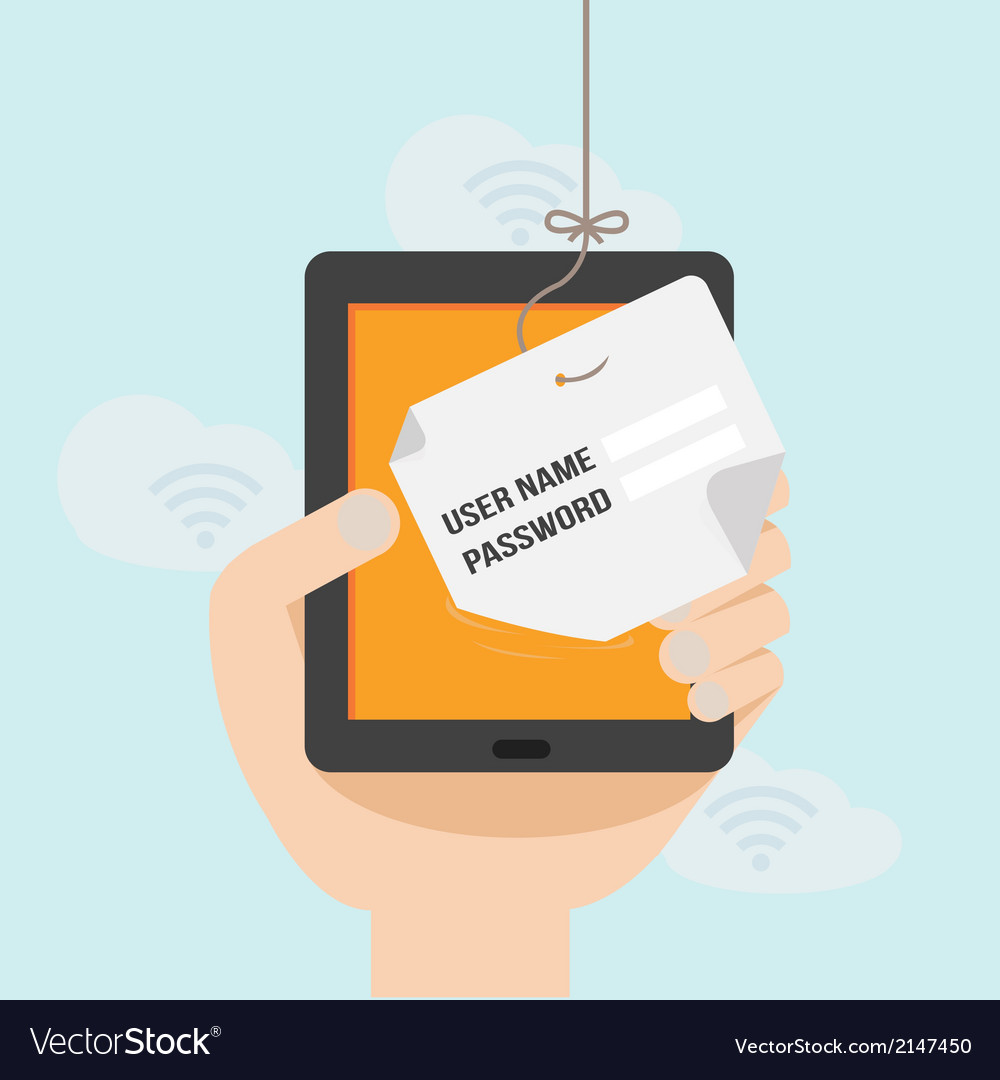 Internet phishing a login and password concept vector | Price: 1 Credit (USD $1)