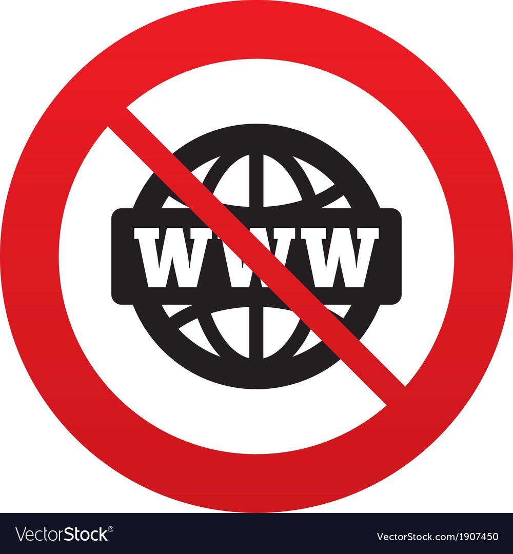 No www sign icon world wide web symbol vector | Price: 1 Credit (USD $1)