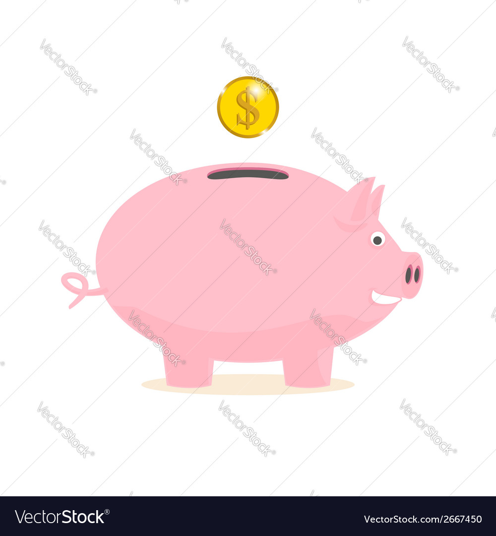 Piggy bank with a gold coin vector | Price: 1 Credit (USD $1)