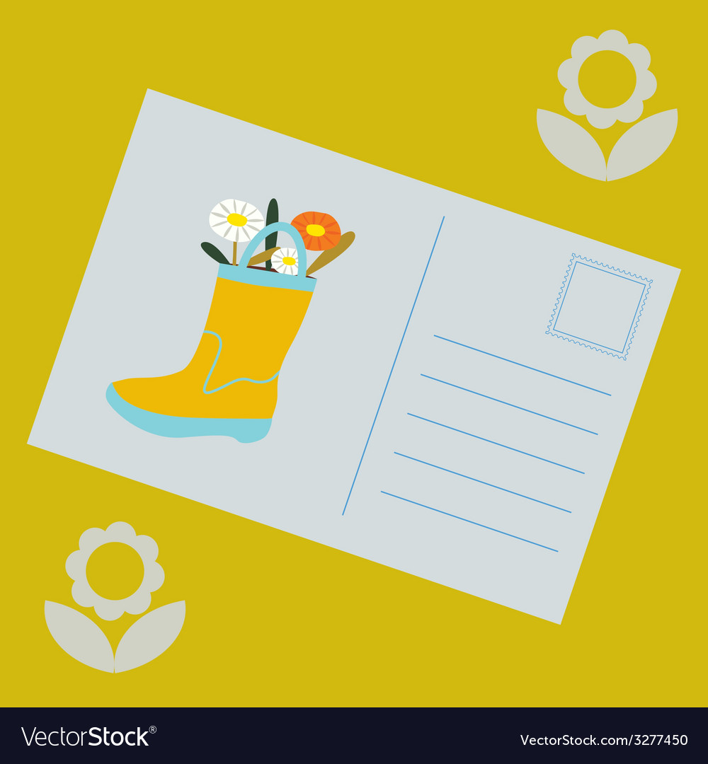 Post card with boot with flowers vector | Price: 1 Credit (USD $1)