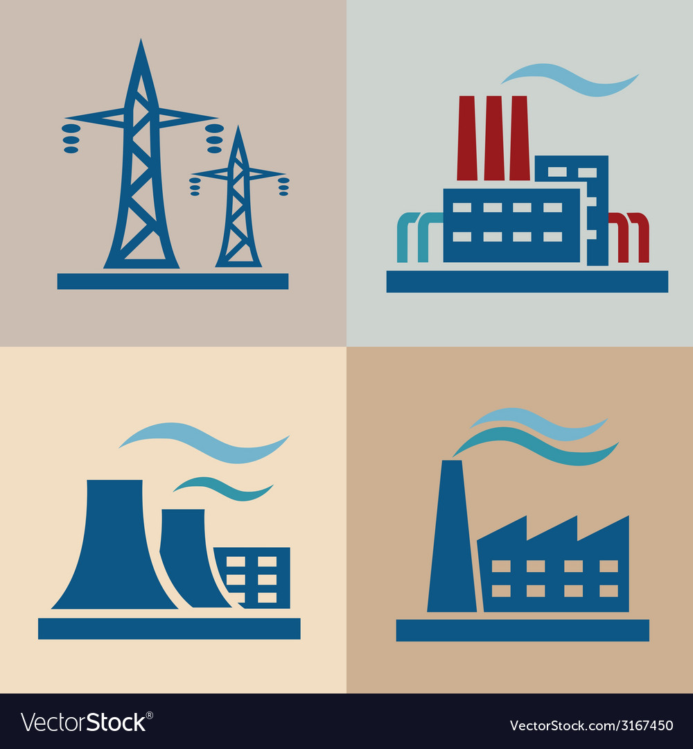 Power plant electrisity icons set vector | Price: 1 Credit (USD $1)