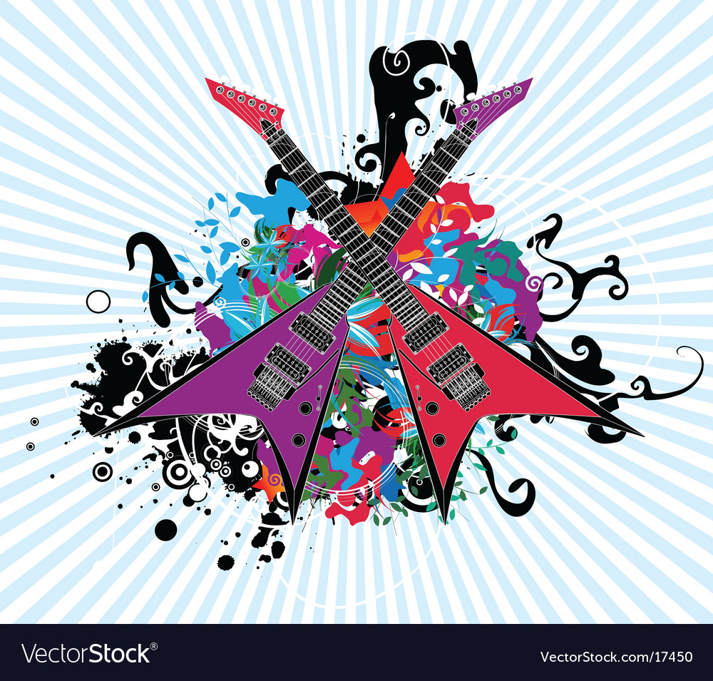 Rock and roll guitar design vector | Price: 1 Credit (USD $1)