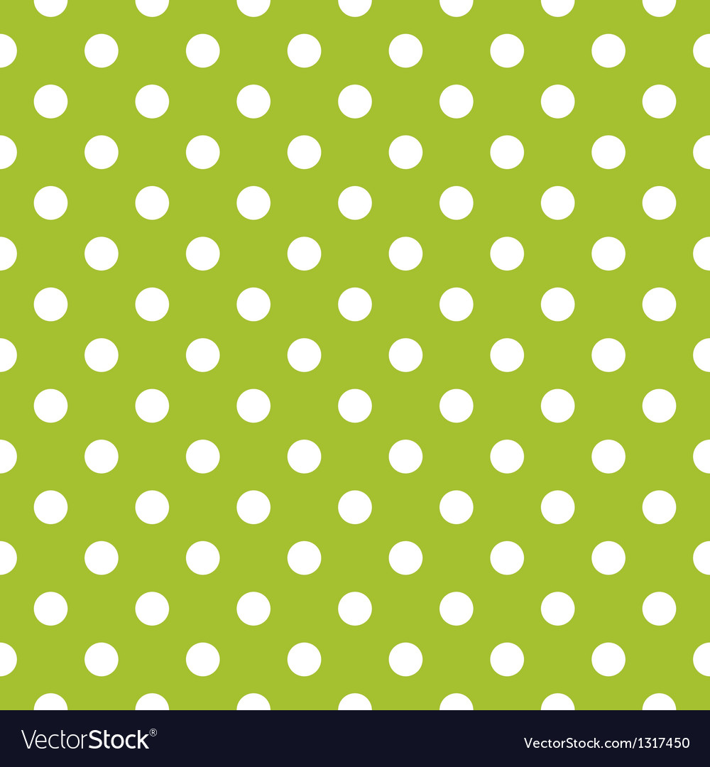 Seamless spring green pattern and white polka dots vector | Price: 1 Credit (USD $1)
