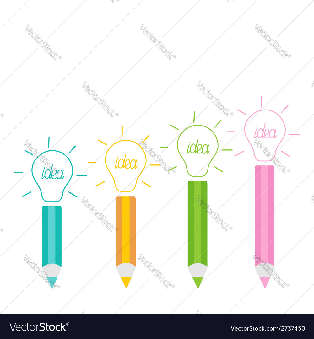 Set of pencils and shining light bulbs business id vector | Price: 1 Credit (USD $1)