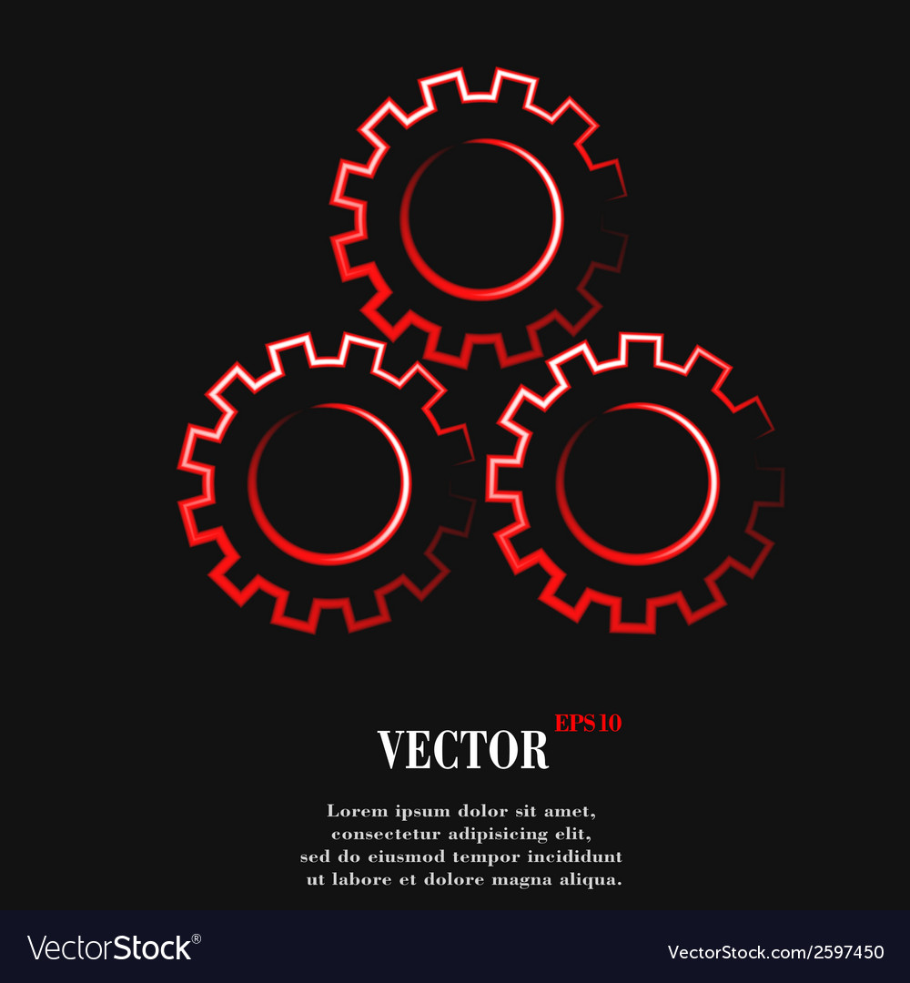Settings sign web icon flat design vector | Price: 1 Credit (USD $1)