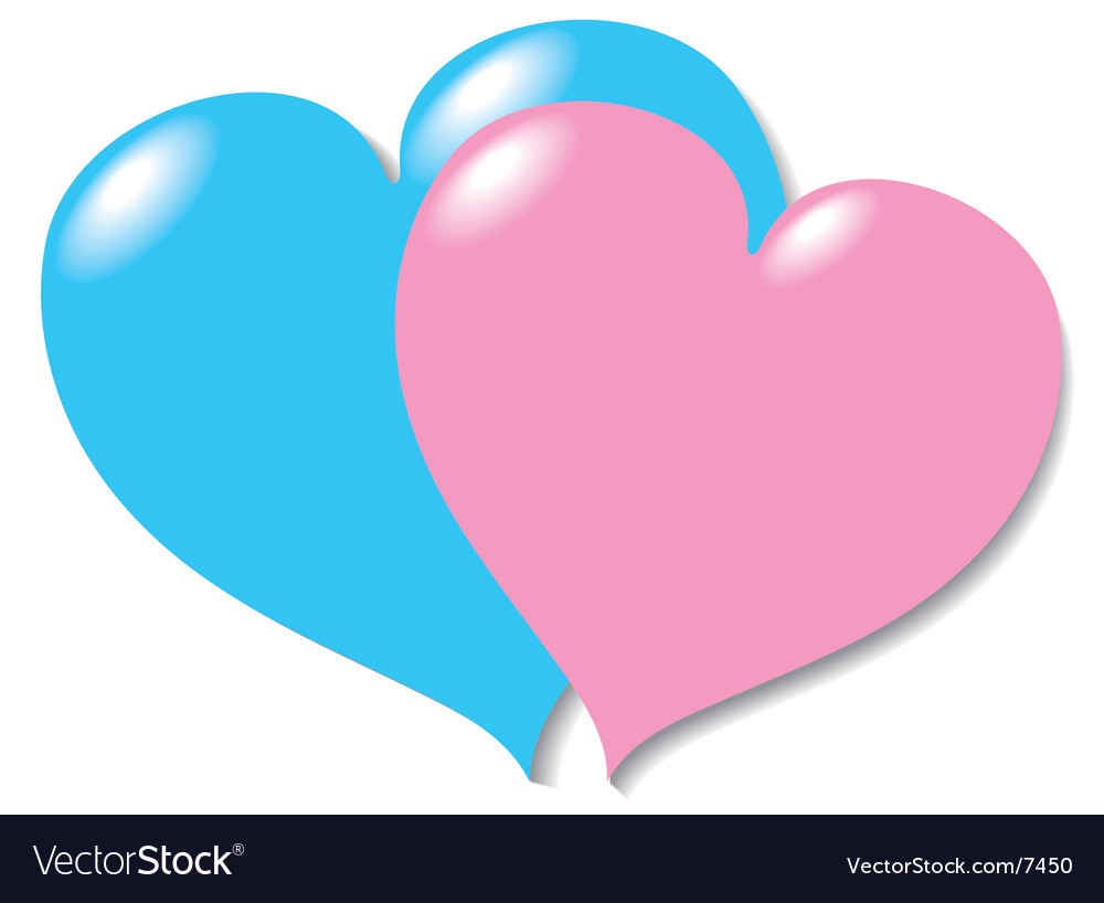 Two in love hearts vector | Price: 1 Credit (USD $1)