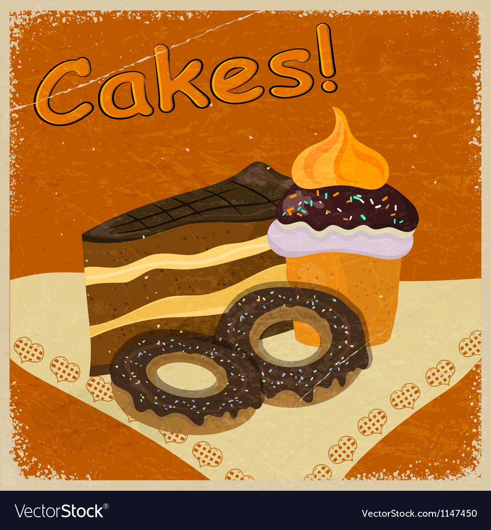 Vintage background image of a piece of cake vector | Price: 1 Credit (USD $1)