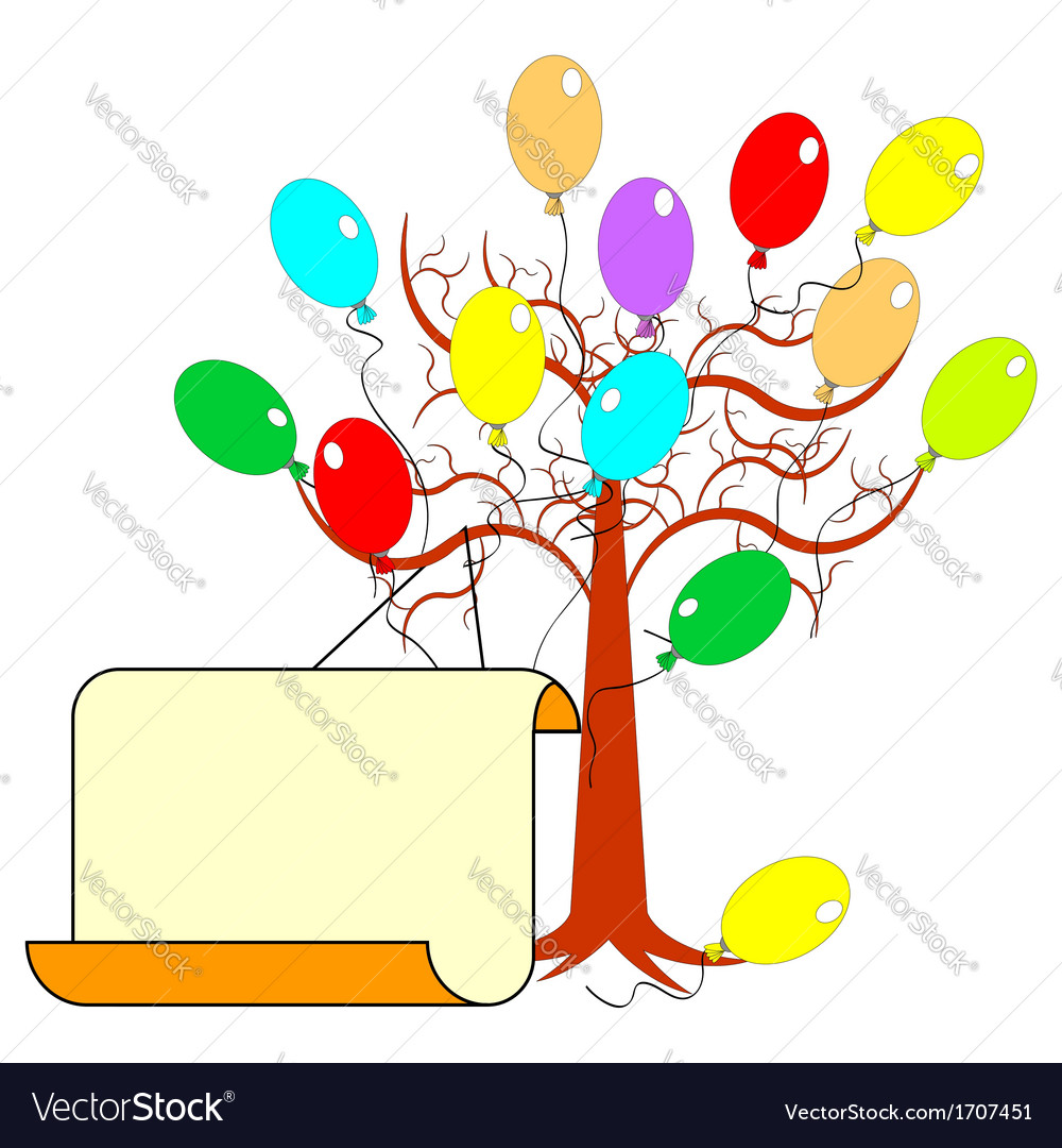 A tree with many colorful balloons vector | Price: 1 Credit (USD $1)