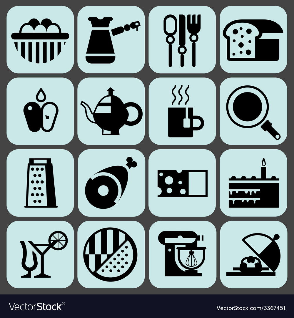 Cooking food icons black vector | Price: 1 Credit (USD $1)