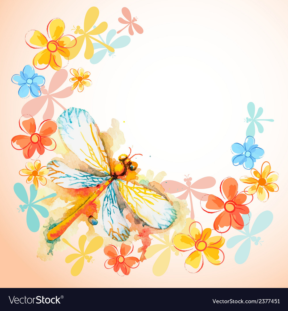 Flying dragonflies with flowers vector | Price: 1 Credit (USD $1)