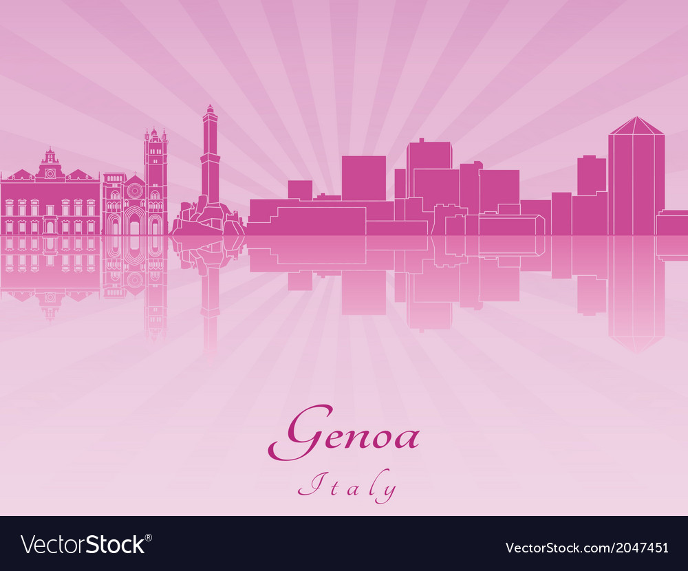 Genoa skyline in purple radiant orchid vector | Price: 1 Credit (USD $1)