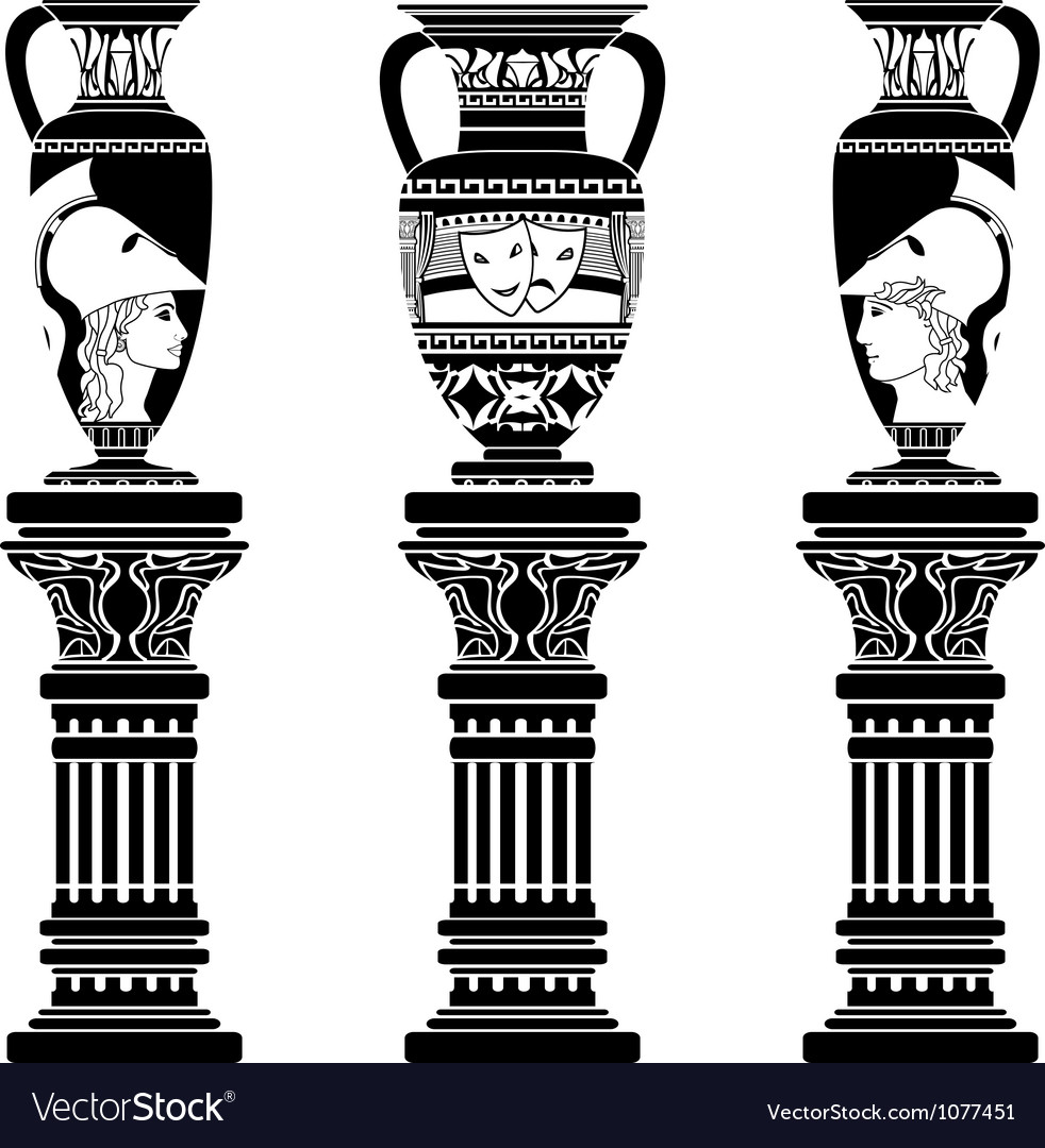 Hellenic jugs with columns second variant stencil vector | Price: 1 Credit (USD $1)