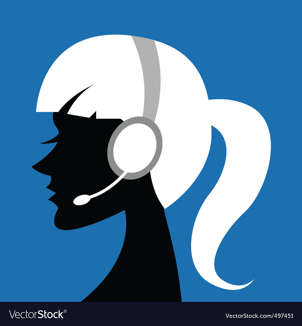 Lady with headphone vector | Price: 1 Credit (USD $1)