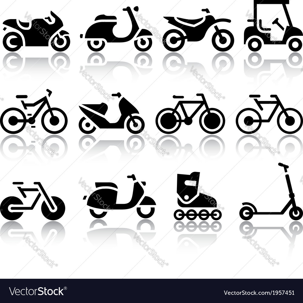 Motorcycles and bicycles set of black icons vector | Price: 1 Credit (USD $1)