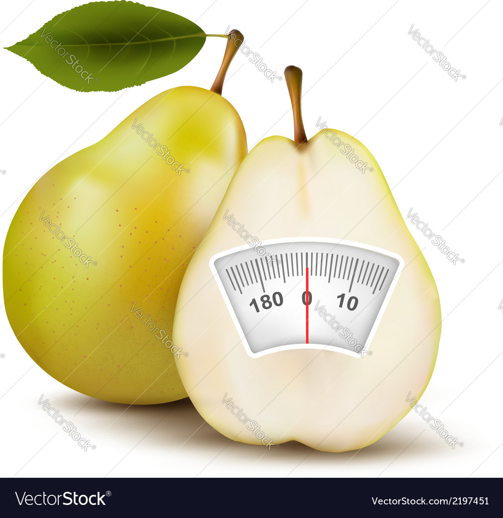 Pear with weight scale diet concept vector | Price: 1 Credit (USD $1)