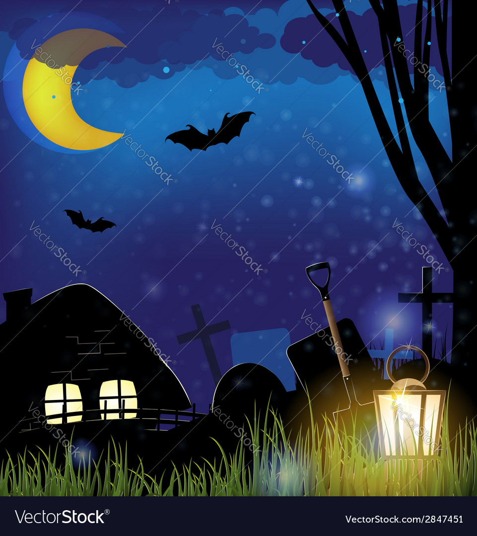 Scary night landscape vector | Price: 1 Credit (USD $1)