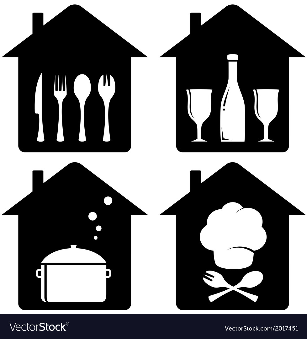 Set home icon with kithen utencil vector | Price: 1 Credit (USD $1)