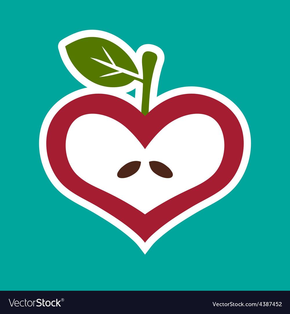 Apple heart icon vector | Price: 1 Credit (USD $1)