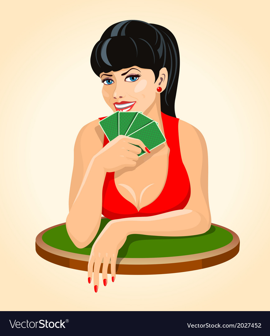 Beautiful brunette woman in red dress with a playi vector | Price: 1 Credit (USD $1)