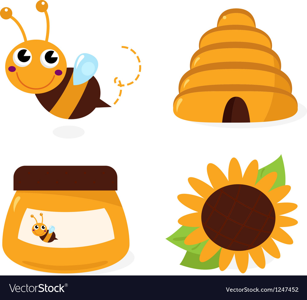Bee and honey icons set isolated on white vector | Price: 1 Credit (USD $1)