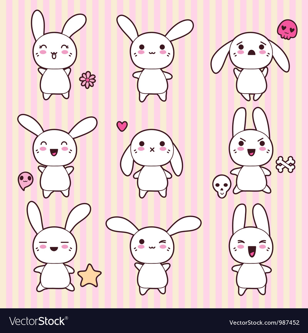 Cartoon cute rabbit character vector | Price: 1 Credit (USD $1)