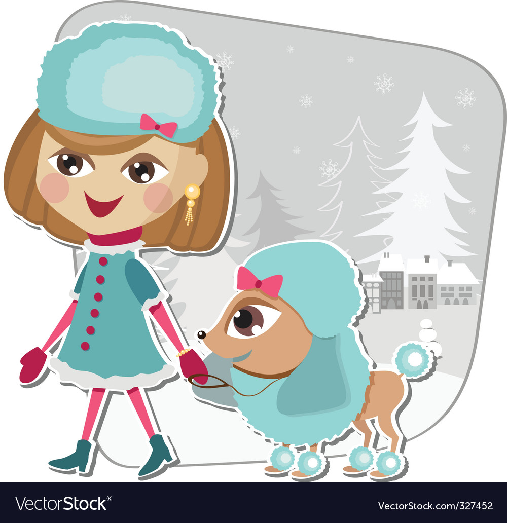 Christmas walk with a dog vector | Price: 3 Credit (USD $3)