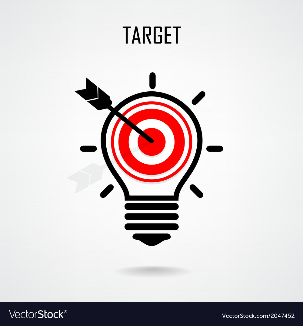 Creative light bulb and target concept vector | Price: 1 Credit (USD $1)