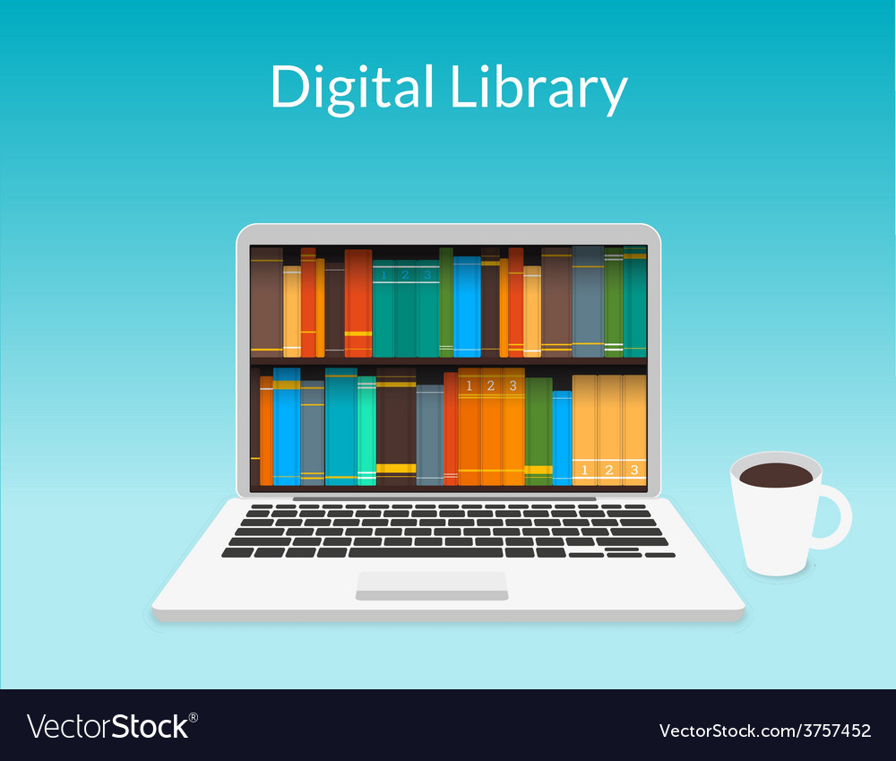 Laptop with ebooks vector | Price: 1 Credit (USD $1)
