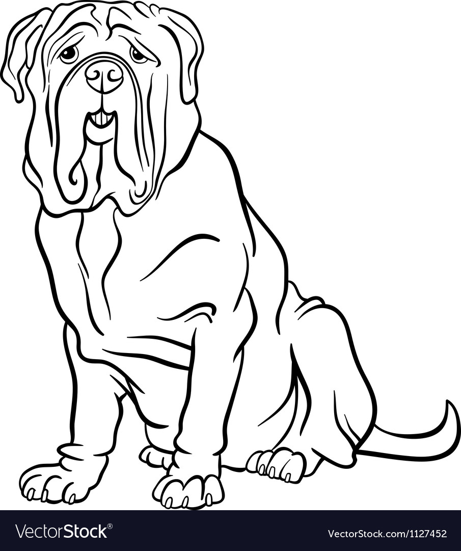Neapolitan mastiff dog cartoon for coloring vector | Price: 1 Credit (USD $1)